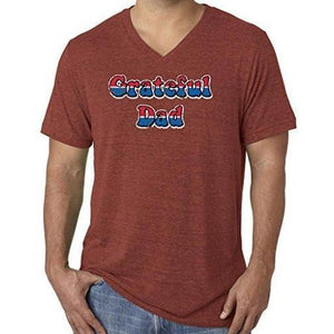 Mens American Grateful Dad V-neck Tee Shirt - Yoga Clothing for You - 5