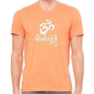 Mens Om Mani Padme Hum V-neck Tee - Yoga Clothing for You - 11