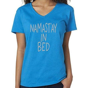 Womens Namaste in Bed Vee Neck Tee - Yoga Clothing for You - 2