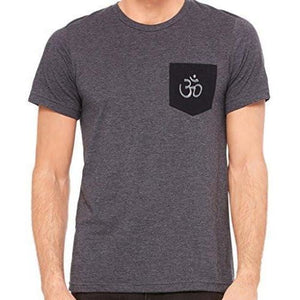 Mens Hindu Ohm Patch Pocket Tee Shirt - Yoga Clothing for You - 1