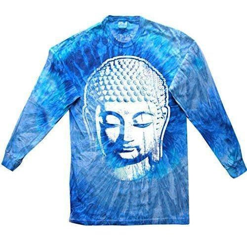 Mens Big Buddha Head Long Sleeve Tee Shirt - Yoga Clothing for You - 1