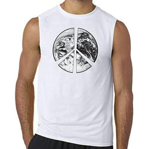 "Mens ""Peace Earth"" Muscle Tee Shirt - Yoga Clothing for You - 8"