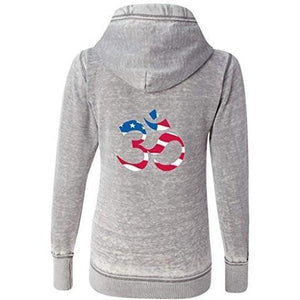 Womens Patriotic OM Full Zip Hoodie - Yoga Clothing for You - 1