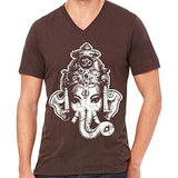 Mens Big Ganesha V-neck Tee Shirt - Yoga Clothing for You - 4