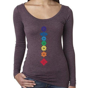 Womenss Floral Chakras Long Sleeve Tee Shirt - Yoga Clothing for You - 9