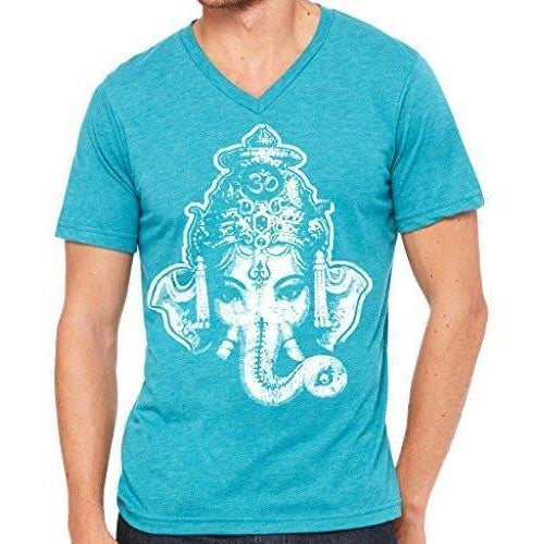 Mens Big Ganesha V-neck Tee Shirt - Yoga Clothing for You - 1