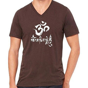 Mens Om Mani Padme Hum V-neck Tee - Yoga Clothing for You - 4