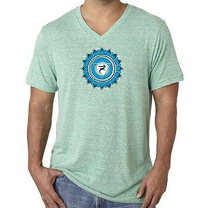 "Mens ""Vishuddha Chakra"" V-neck Tee Shirt - Yoga Clothing for You - 8"