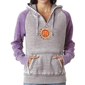 Womens Sleeping Sun Acid Wash Hoodie - Yoga Clothing for You - 3