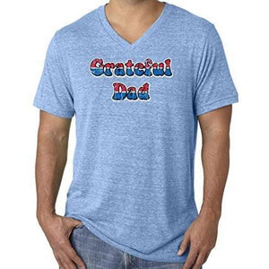 Mens American Grateful Dad V-neck Tee Shirt - Yoga Clothing for You - 3
