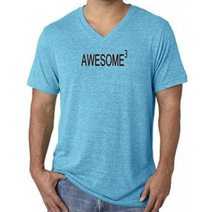 Mens Awesome Cubed V-neck Tee Shirt - Yoga Clothing for You - 1