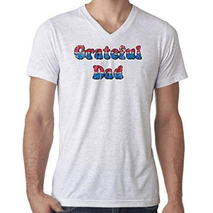 Mens American Grateful Dad V-neck Tee Shirt - Yoga Clothing for You - 11