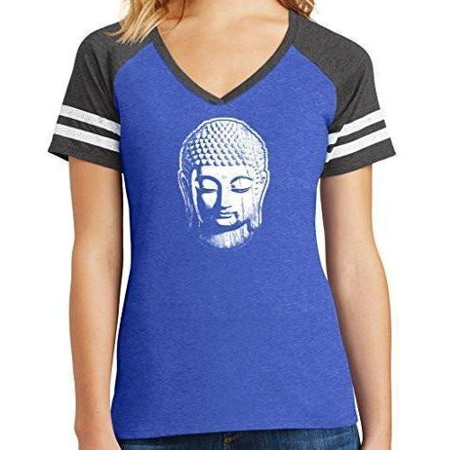 Ladies V-neck Yoga Top - Little Buddha Head - Yoga Clothing for You