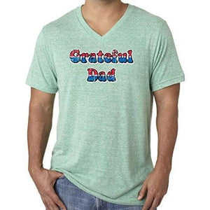 Mens American Grateful Dad V-neck Tee Shirt - Yoga Clothing for You - 6