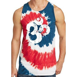 Mens White Distressed Om Tie Dye Tank Top - Yoga Clothing for You - 9
