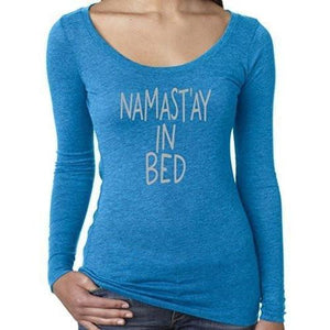 Womens Namast'ay in Bed Long Sleeve Tee Shirt - Yoga Clothing for You - 4