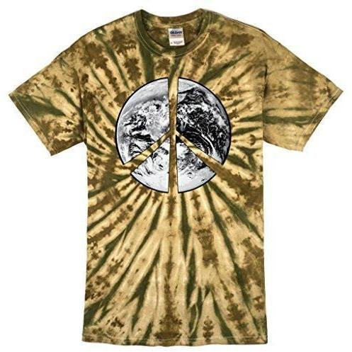 Mens Peace Earth Tie Dye Camo Tee Shirt - Yoga Clothing for You