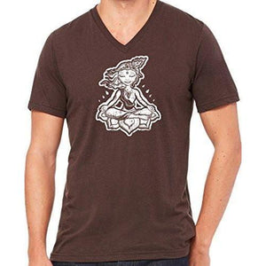 "Mens ""Krishna"" V-neck Tee Shirt - Yoga Clothing for You - 5"