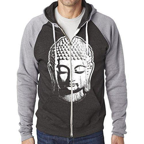 Mens Big Buddha Head Full-Zip Hoodie - Yoga Clothing for You - 1