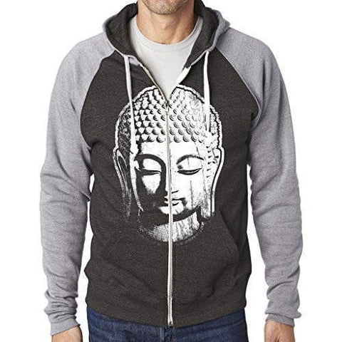 Yoga Clothing for You Mens Big Buddha Head Full-Zip Hoodie