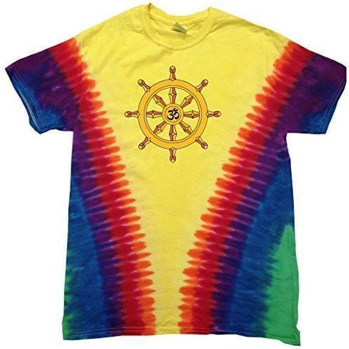 Mens Dharma Wheel V-dye Tee Shirt - Yoga Clothing for You