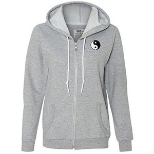 Womens Yin Yang Patch Full Zip Hoodie - Pocket Print - Yoga Clothing for You - 5