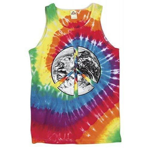 Yoga Clothing for You Mens Peace Earth Tie Dye Tank