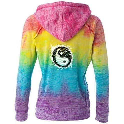 Yoga Clothing for You Womens Yin Yang Sun Burnout Vee Hoodie - Mid Back Print