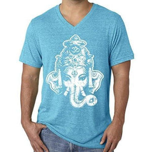 Mens Big Ganesha V-neck Tee Shirt - Yoga Clothing for You - 2