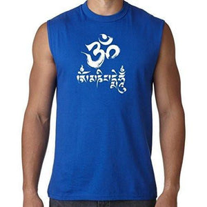 Mens Om Mani Padme Hum Sleeveless Tee - Yoga Clothing for You - 6