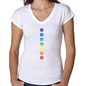 Ladies Glowing Chakras V-neck Tee Shirt - Yoga Clothing for You