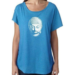 Ladies Dolman Yoga Tee Shirt - Little Buddha Head - Yoga Clothing for You