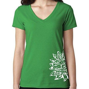 Womens Sketch Lotus Lightweight V-neck Tee - Side Bottom Print - Yoga Clothing for You - 5