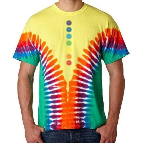 Mens Glowing Chakras V-Dye Tee Shirt - Yoga Clothing for You