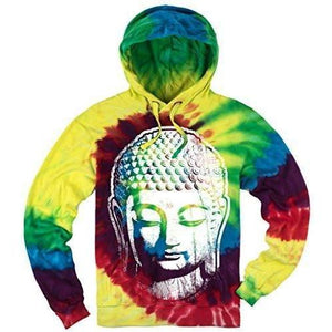 Mens Tie Dye Big Buddha Head Hoodie - Yoga Clothing for You