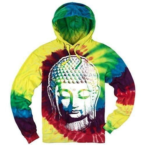 Yoga Clothing for You Mens Tie Dye Big Buddha Head Hoodie