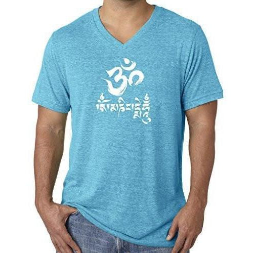 Mens Om Mani Padme Hum V-neck Tee - Yoga Clothing for You - 1