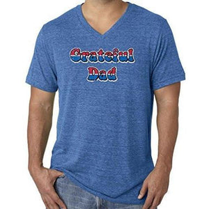 Mens American Grateful Dad V-neck Tee Shirt - Yoga Clothing for You - 2