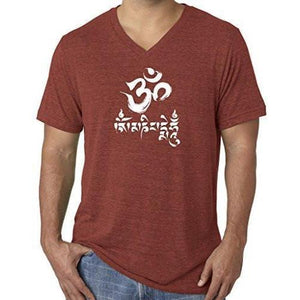 Mens Om Mani Padme Hum V-neck Tee - Yoga Clothing for You - 6