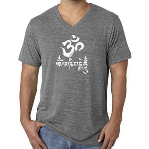Mens Om Mani Padme Hum V-neck Tee - Yoga Clothing for You - 2