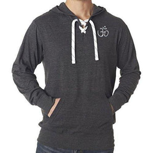 Mens Hindu OM Patch Lace Hoodie Tee - Pocket Print - Yoga Clothing for You - 2