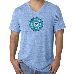 "Mens ""Vishuddha Chakra"" V-neck Tee Shirt - Yoga Clothing for You - 4"