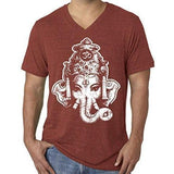 Mens Big Ganesha V-neck Tee Shirt - Yoga Clothing for You - 6
