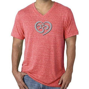 Mens Om Heart Lightweight V-neck Tee Shirt - Yoga Clothing for You - 9