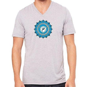 "Mens ""Vishuddha Chakra"" V-neck Tee Shirt - Yoga Clothing for You - 3"