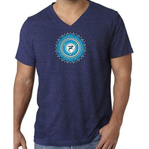 "Mens ""Vishuddha Chakra"" V-neck Tee Shirt - Yoga Clothing for You - 11"