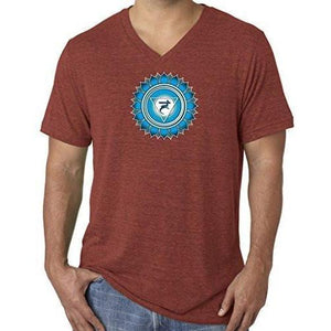 "Mens ""Vishuddha Chakra"" V-neck Tee Shirt - Yoga Clothing for You - 7"