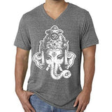 Mens Big Ganesha V-neck Tee Shirt - Yoga Clothing for You - 8