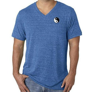 Mens Yin Yang Patch V-neck Tee Shirt - Pocket Print - Yoga Clothing for You - 1