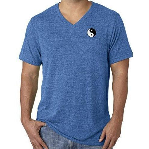 Yoga Clothing for You Mens Yin Yang Patch V-neck Tee Shirt - Pocket Print